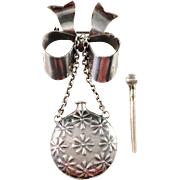 French Sterling Silver Brooch w Perfume Bottle. Early 1900s. Imported to Sweden. Fully hallmarked.