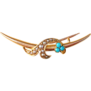 Antique 15k Gold and Turquoise Brooch. Russia Provincial.  Art Nouveau
