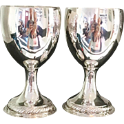 IMPORTANT 1774 Dublin Tall Pair of Sterling Silver Cups Goblets. John Lloyd. Irish Provincial. Wow