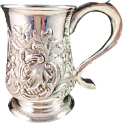 Antique year 1757 John Langlands I, Newcastle Sterling Silver Beer Mug. Excellent and Very Rare.
