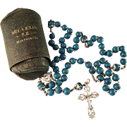 Early 1900s French Sterling Silver and Lapis Lazuli, Montmartre Sacre Coeur Souvenir Roman Catholic Rosary. Excellent