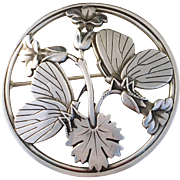 Stunning Georg Jensen Sterling Silver late 1940s Moonlight Blossom Brooch. Design number 283. In Original Reatailers Box.