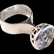 Hasse Dahlström, Sweden year 1966 Bold Modernist Sterling Silver Ring w Large Rock Crystal. Signed.