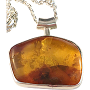 Erik Styrbech, Denmark 1960s Sterling Silver and Large Amber Pendant with Sterling Chain.