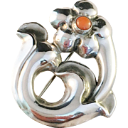 Danish Art Nouveau Solid Silver and Coral Brooch. Maker TM, c 1900