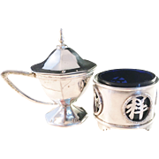 Chinese Export Silver. c 1900 Fully Hallmarked. Salt and Mustard Pot. Rare.