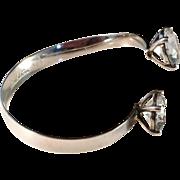 Stunning Bengt Hallberg, signed designer Åke Lindström Sterling Silver Bangle Bracelet with two large Rock Crystals. Vintage 1970s