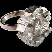 1970s Solid Silver Brutalist Ring. Sweden