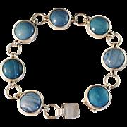 1960s Sterling Silver Bracelet w Blue Stones. Ove Nordström, Skinskatteberg, Sweden