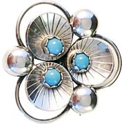 1955 famous Karl-Erik Palmberg, Sweden Sterling Silver and Turquoise Brooch