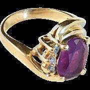 Antique 14g Gold Diamonds and Amethyst Ring. Art Nouveau. Excellent.