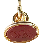 Early 1800s Intaglio Fob Seal Pendant 18k Gold with Carved Carnelian. Hallmarked Stockholm, Sweden.