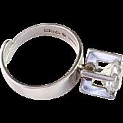 Bold Vintage 1972, Sterling Silver and Rock Crystal Ring. Modernist Alton, Falköping, Sweden.