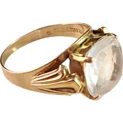 18k Gold Ring with large Rock Crystal. Maker Ceson, Gothenburg Sweden 1950s