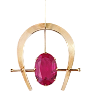 Oskar Niemi, Finland 14k gold and prob. synthetic Ruby Pendant. Vintage 1970s. Excellent
