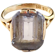 18k Gold and light blue Spinel Ring. Vintage 1940, Olof Nilsson, Kristianstad, Sweden