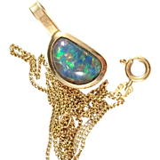 Vintage 18k Gold Necklace w Black Opal Triplet. Maker Cebon, Sweden.