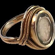 Stunning Grand Tour Intaglio 18k Gold Ring. ca 1820-30. 8.7gram, the intaglio is possibly Roman, hard stone gem.