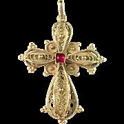 Antique 14k Gold Filigree Christian Cross. Hallmarked. South Europe c 1900. 5.3gram