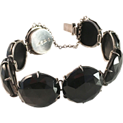 Antique 1884, Silver and Jet Mourning Bracelet. Wilhelm Samuel Jacobsson, Stockholm, Sweden