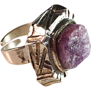 Pentti Sarpaneva, Finland 1974. Bold Large Modernist Ring with Raw Amethyst. Adjustable Size. Wow.
