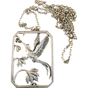 Large Solid Silver Art Deco Stark & Svensson, Eskilstuna, Sweden (1933-1947) Necklace Pendant