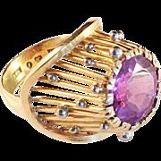 Karlou Karl-Olov Gustawsson, Stockholm 18k Gold and Amethyst Cocktail Ring. Sweden 1955. 10.5gram. Wow.