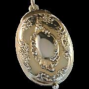 Large Gilt Silver Mirror Pendant. La Belle Époque, Art Nouveau France early 1900s. 1.15oz