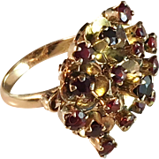 Bold 18k Gold Dinner Ring with Red Garnets. Continental Europe early 1900s.