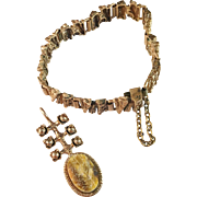 Pentti Sarpaneva Finland. Brutalist Bronze 1970s Bracelet and Pendant. Raw Tiger Eye.