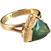Art Deco 1935, 18k Gold Ring with Dark Forest Green Tourmaline, Johan Pettersson, Stockholm, Sweden