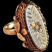 Antique French 14k Red Gold La Belle Époque Art Nouveau Ring. Beautiful.