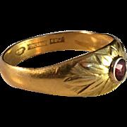 Antique 23k Gold and Garnet Ring. Royal Jeweler CG Hallberg, Stockholm 1918.