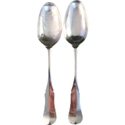 Antique 1775 Pair of Table Wedding Spoons, Solid Silver. Uddevalla, Sweden.