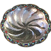 Antique Pure 1000 Silver Enamel Bowl. Japan 1910s. Hand hammered.
