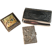 3 Antique Objects. 1800s Swedish Snuff Box, 1800s Chinese Enamel Box, French Calendar 1913.