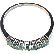 Vintage 18k White Gold Emeralds Half Eternity Ring. 6 hallmarks, partly rubbed. Europe 1900s