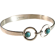 1964 Vintage Solid Silver and Turquoise Bangle Bracelet. Modernist Turun Hopea, Finland.