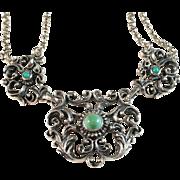 Art Nouveau Sterling Silver Necklace. B Sanderström, Copenhagen, Denmark.
