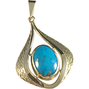 Vintage 14k Gold and Turquoise Pendant.