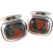 Sterling Silver Moss Agate Cufflinks. Signed Rusch, Swedish Import. Vintage Mid Century.