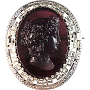 Antique Silver and Purple Glass High Relief Cameo. South Germany or Austria, early 1800s. Rare.