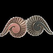 Vintage Georg Jensen 1940s Snail Design #92 B Screw Back Sterling Silver Earrings.
