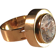 Trege Svensson, Gothenburg, 18K Gold and Rock Crystal Ring. Excellent. 7.0gram