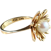 1950s Herman Siersbøl Denmark 14k Gold and cultured Pearl Ring. Mid Century Excellent.