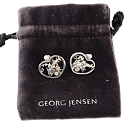 Early 1933-1944 Georg Jensen Design 101 Pierced Heart Shaped Form with Dolphins Sterling Clip on Earrings. Very Rare.