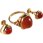 18k Gold and Carnelian Ring and Earrings. G. Dahlgren, Sweden 1952. Very rare.