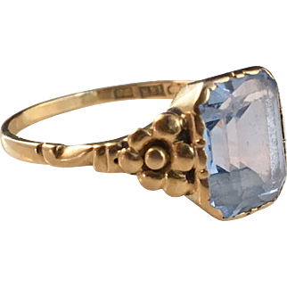 Vintage 1949 Mid Century, Carlsson & Pettersson, Stockholm 18k Gold Ring w Blue Clear Stone