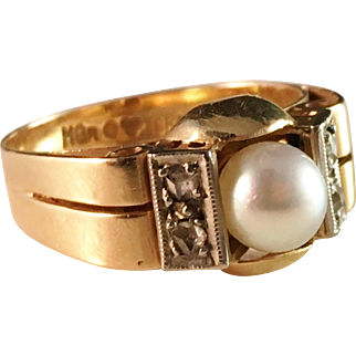 Famous Hugo Grun 18k Gold Diamond Pearl Ring. Stockholm 1953. Excellent.
