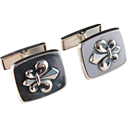 Holger Lindstrom, Finland 1966 French Lily Solid Silver Cufflinks.